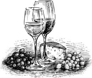 Vector drawing of two glasses of wine with cheese and grapes.
